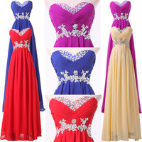 Long Beading Evening Gown Bridesmaid Dresses Prom Dress Formal Party Ball Gowns