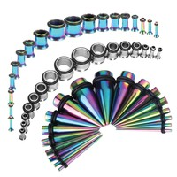 BodyJ4You Gauges Kit 54 Pieces Rainbow Steel Tapers & Tunnels Clear Plugs 14G 12G 10G 8G 6G 4G 2G 0G 00G