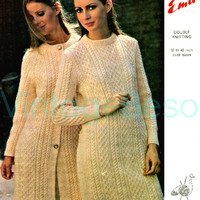 2 PATTERNS Retro 1960s Aran Sweater Dress and Coat Dress Knitting Pattern Emu 2660 Vintage Beso Instant PDF 32-42 inch bust double knitting