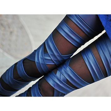 New Women Sexy PU Leather Stretchy Bandage Leggings Skinny Pants Trousers blue