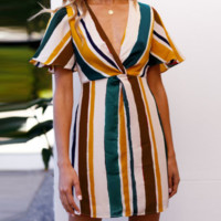 Spring and summer women's fashion contrast color striped dress female sense new hot sale