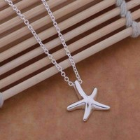 Shining Starfish Star Silver Necklace for Women, Girls, Teens