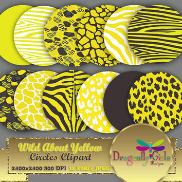 """80% OFF Sale WILD About Yellow 8"""" Clip Art, commercial use, digital scrapbook papers, vector graphics, printable, Instant Download"""