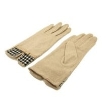 Elegant Women's Wool Gloves with Bow & Houndstooth Trim - Different Colors Available