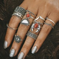 Vintage Anti Silver Color Rings Sun Moon Lucky Rings