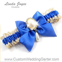 Royal Blue and Gold WEDDING GARTER White Gold Lace Garter 350 Royal Blue and Gold Prom Garter Plus Size & Queen Size Available too