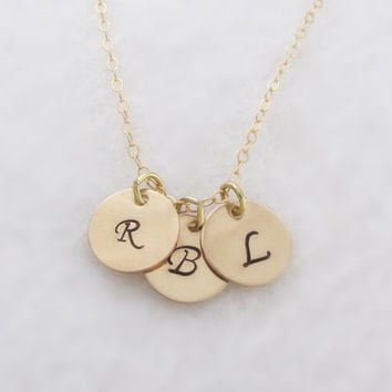 Three Gold Filled Initial Disk Necklace, Custom Monogram Necklace, Personalized Hand Stamped 14K Gold Filled, Family Necklace, Daily wear
