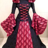 Renaissance dress S-M 10-12-14 red gothic dress witch tudor medieval dress lotr larp handfasting wicca carnival celtic costume victorian
