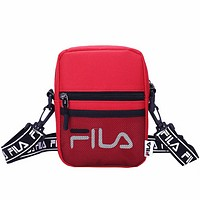 FILA men and women couple models mesh diagonal diagonal bag wild print letter shoulder bag Red