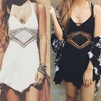 Homecoming Boho Hippie Cover Ups Tumblr ace Cut Hollow Out Dress
