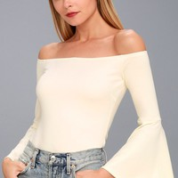 Good One White Off-the-Shoulder Bodysuit
