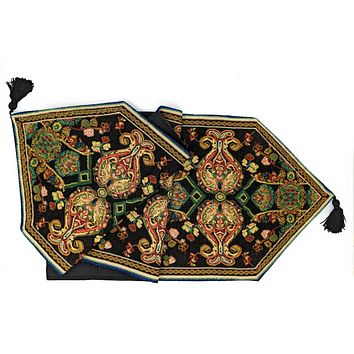 Tache Elegant Black Ornate Paisley Woven Tapestry Table Runner (18192)