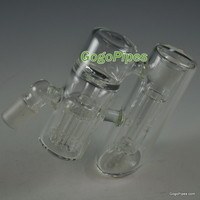 Double ash catchers with perc & shower head | Double bubbler ashcatcher bowl 19mm by Gogo Glass Pipes