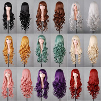 Hot sale cheap long wavy anime Silver/grey/red 12colors cosplay wig,kanekalon fibre synthetic hair womens party peruca wig
