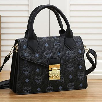MCM New Products Fully Printed Letters Ladies Shopping Handbags Shoulder Bags Messenger Bag Black
