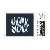 Modern Blue Two-toned Thank You Typography Stamp