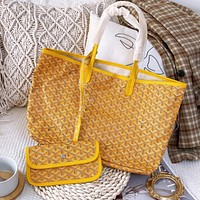 Goyard New Women's Printed Letter Yellow Two-Piece Shopping Bag Shoulder Bag