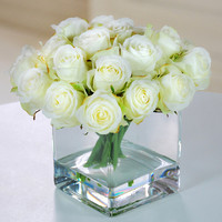 Jane Seymour Botanicals Rose Buds with Square Glass Vase
