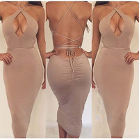 SOLID COLOR BODYCON FASHION BACKLESS DRESS
