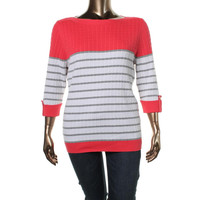 Karen Scott Womens Plus Cable Knit Striped Pullover Sweater