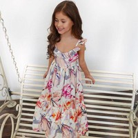Cute Girl Summer BOHO Floral Toddler Baby Girl Dress Sleeveless Tutu Dress Sundress