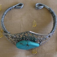 Handmade Turquoise Wire Wrapped Cuff Bracelet In Silver Tone
