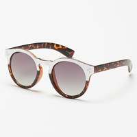With Love From CA Two-Tone Plastic Round Sunglasses - Womens Sunglasses - Brown - One