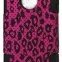 PINK Fushia LEOPARD Print Iphone 4/4s Mesh Hybrid Defender Protector Case Cover Snap on 2 Piece Back Case by Jersey Bling