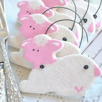 Personalized or Plain Lamb Baptism Favors Pink or Blue Salt Dough Ornaments / Christening Gifts Set of 10