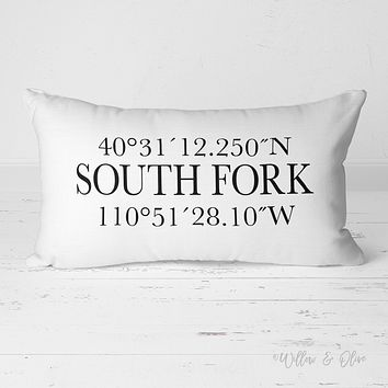 Decorative Lumbar Throw Pillow - Latitude & Longitude Special Location