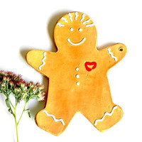 Gingerbread Man Christmas Ornaments, Happy Face Pottery Decoration