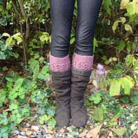 Hand Knit Pink Boot cuffs - Leg warmers -Lace cuffs - winter - gift for her - READY TO SHIP