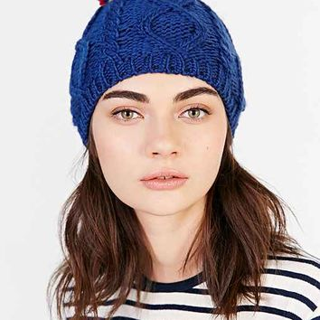 Cable Multi Pom Beanie- Blue One