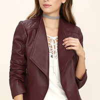 Jack by BB Dakota Fernando Burgundy Vegan Leather Moto Jacket