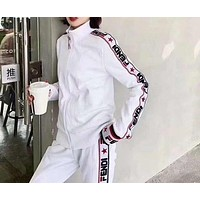 """FENDI"" Woman Leisure Fashion Letter Printing Zipper Stripe Long Sleeve Tops Trousers Two-Piece Set Casual Wear Sportswear"