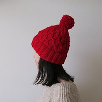 Hand Knitted Hat in Red - Beanie with Pom Pom - Seamless - Wool Blend