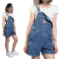 Vintage 90s Denim Overalls Overall Women Shorts Jean Shorts - Blue Jean Overalls Size Small REVOLT 1990s Pastel Grunge Goth - Distressed