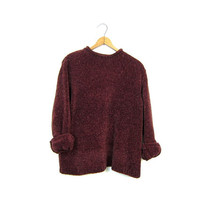 90s Nubby Sweater Boxy Fuzzy Berry Red Speckled Pullover Soft Cozy Fall Sweater Boho Long Sleeve Knit Shirt Sweater Vintage Womens Small