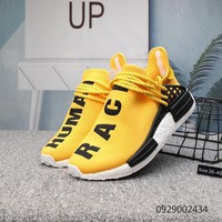 DCCK2 A403 Adidas Pharrell Williams Human Race NMD Knit Running Shoes Yellow Black