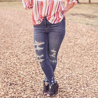 Judy Blue Distressed High Rise Cropped Skinny Jeans