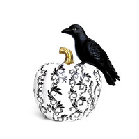 Crow On a Pumpkin Crow and pumpkin Black and white pumpkin with a black crow raven bird Thanksgiving Halloween Black and White Raven decor