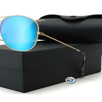 New Ray-Ban RB3562 Sunglasses | 112/1A - Gold / Polarized Blue Mirror Chromance