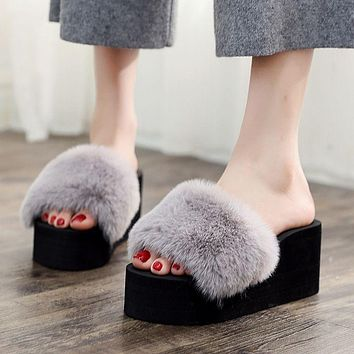 Imitation Fur Upper Women Fashion Outdoor Platform Slippers Shoes