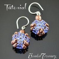 """Beaded bead tutorial """"Beaded Square Bead""""/ Beading pattern / SuperDuo, Seed beads / TUTORIAL ONLY"""