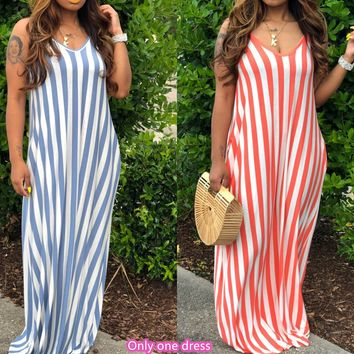 Summer new fashion women's striped sling deep V loose dress