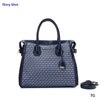 """Michael kors"" classic women's fashion casual wild shoulder slung lock bag Navy blue"