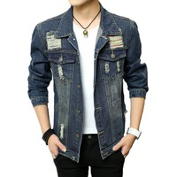 2018 Men Denim Jacket And Coats Brand Clothing Spring Casual Mens Jeans Slim Fit Bomber Jacket Outwear Male Jaquetas Masculina