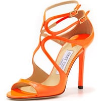Jimmy Choo Lang Patent Strappy Sandal, Flame