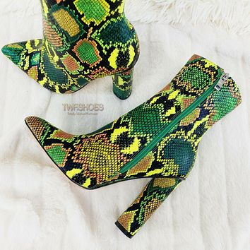 "Snake Bite Lime Green Multi 4"" Chunky High Heel Ankle Boots 6-11"