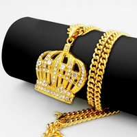 Jewelry Gift Shiny New Arrival Set Hip-hop Accessory Stylish Crown Pendant Necklace [10737328643]